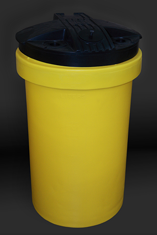 Yellow 50 Gallon Polyethelyne Tanks with Cover Drilled